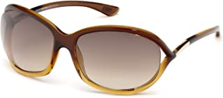 Tom Ford FT0008 Jennifer 女式几何太阳镜 + 免费赠送眼镜套装 Transparent Brown Gradient Light Orange / Gradient Brown 61