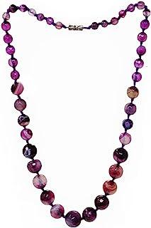 TreasureBay 女式令人惊叹的玛瑙宝石项链,由 6-16 毫米刻面天然玛瑙宝石(紫色)