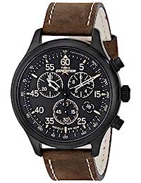 Timex 天美时 男士 T49905 Expedition Field 计时码表 黑色/棕色皮革表带手表,褐色/黑色,无尺寸