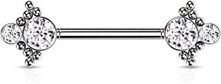 Dynamique 316L *钢无螺纹推入式乳头杠铃,珠状边缘,每侧双 CZ (每对出售或单件)