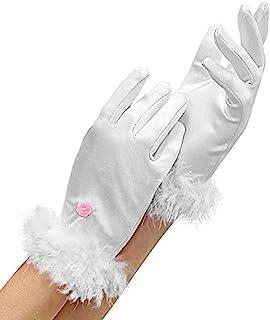 Widmann 34321 34321-缎面手套,马拉布羽毛,白色,公主服装,配饰,主题派对,狂欢节,男女通用儿童,多色