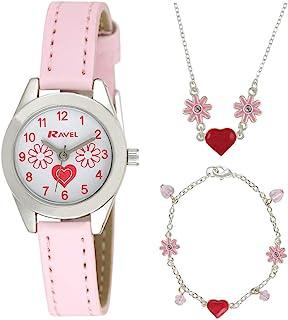Ravel 儿童珠宝套装:带有心形宝石和花朵手表、幸运手链、带有心形和花朵的项链,礼盒装