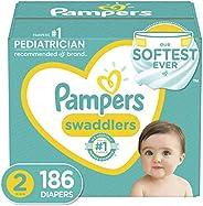 纸尿裤尺码 2,186 片 - Pampers 帮宝适 Swaddlers 一次性婴儿尿布,一个月供应(包装可能不同)