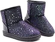 女童雪地靴亮片保暖冬靴舒适耐用及踝靴(幼儿/小童)