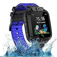 AOYMJRS 兒童智能手表,防水LBS/GPS 智能手表男孩女孩玩具手表跟蹤器觸摸屏SOS適用于Android iOS手機智能手表男孩女孩生日圣誕節理想禮物(藍色)