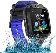 AOYMJRS 儿童智能手表,防水LBS/GPS 智能手表男孩女孩玩具手表跟踪器触摸屏SOS适用于Android iOS手机智能手表男孩女孩生日圣诞节理想礼物(蓝色)
