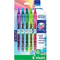 PILOT B2P Colors - Bottle to Pen Refillable & Retractable Rolling Ball Gel Pen Made From Recycled Bottles, Fine Point, Assorted Color G2 Inks, 5-Pack