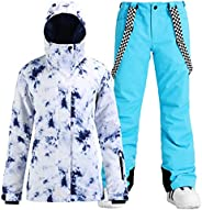 GSOU SNOW 女式高科技滑雪夹克和裤子滑雪美国标准夹克外套