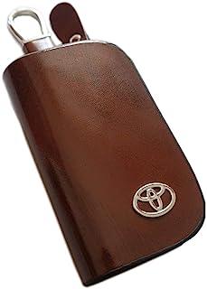 ESMPRO 丰田棕色皮革汽车钥匙包零钱袋拉链遥控钱包钥匙链袋