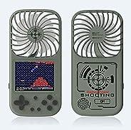 手持游戏机,带风扇 500 复古怀旧游戏迷你风扇 2 合 1 2.8 英寸屏幕 USB 迷你便携式手持风扇可充电旅行办公室家庭风扇,适合儿童/成人(深*)