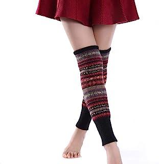 1 双加厚保暖钩针编织羊毛长腿保暖袜迷彩波西米亚靴袜过膝高筒袜护膝适合女士女士女孩