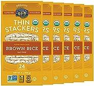 Lundberg Organic Thin Stackers, Brown Rice Salt Free, 6oz (6 Count), Gluten-Free, Vegan, Usda Certified Organi