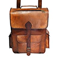 40.64cm 真皮复古帆布背包背包大学背包,学校野餐包旅行,由 Handmadecraft 出品