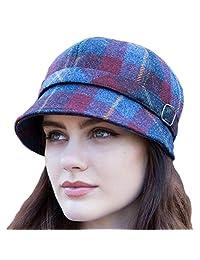 Mucros Weavers 女式平舌帽 - 蓝色和红色,爱尔兰制造,羊毛
