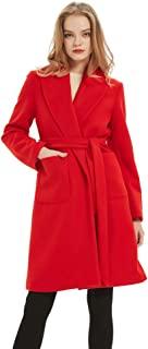 女式裹身外套长腰带开衫羊毛外套前开襟外套带口袋红色