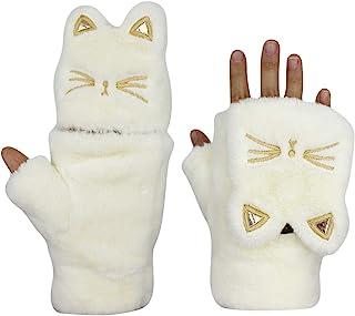 RARITYUS 女式女孩手套温暖柔软可爱猫毛绒翻盖上衣冬季无指厚手套