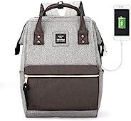 HKS-HOMME 笔记本电脑背包 15 英寸旅行学校背包,带 USB 充电端口,适合学生 灰色 + 黑色 - ms USB- Regular