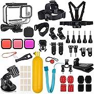 Kupton 配件套装兼容 GoPro HERO9 黑色防水外壳保护套 + 潜水过滤器 + 镜头盖 + 头胸带 + 自行车支架 + 浮动手柄配件兼容 Hero 9