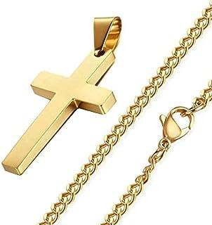 ✅ 18K 金十字链项链男女皆宜 38.10 厘米十字架吊坠带不锈钢底座 50.80 厘米链式项链,4 毫米宽。 ✅ *的母亲节珠宝礼物。