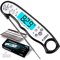 Kizen Instant Read Meat Thermometer - UPGRADED WITH FASTER PROBE, WATERPROOFING, MAGNET, CALIBRATION. Best Super Fast Thermometer for Food, Kitchen, Cooking BBQ, Grill! Includes many BONUS extras! 蓝色