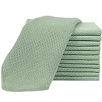 SINLAND 高級超細纖維毛巾華夫格編織面部清潔布面布和身體布,6 片裝 13 英寸 x 13 英寸 燈玉 13Inchx13Inch 12pack nbblgfacecloth33tgreenx6