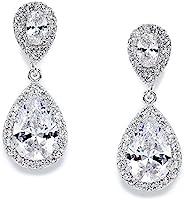 Mariell CZ 泪珠式婚礼耳环,精致珍珠方晶锆石吊坠夹式新娘