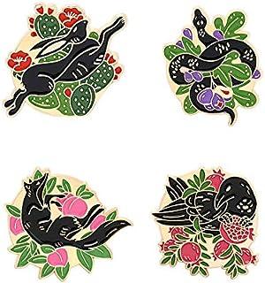 ROFARSO 可爱动物珐琅胸针卡通神话和传奇狐狸蛇狼蝙蝠乌鸦兔子Gumiho 狼别针套装翻领别针配件背包徽章帽袋适合女士女孩儿童礼物