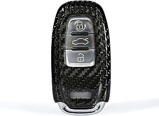 YTF-碳纤维钥匙扣保护套兼容奥迪 A4 A4L A5 Q5 Q7 S4 S5 SQ5 TT TTS 智能汽车遥控钥匙 - 黑色