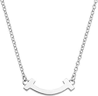 Tiffany 蒂芙尼 18KWG 白金 Tiffany T 微笑吊坠 项链 41厘米~46厘米