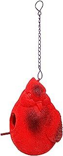 Trinity Church Supply 逼真红色鲜红色树脂悬挂鸟舍喂食器户外花园装饰,7 英寸