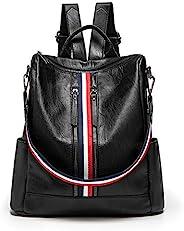女式背包钱包,KADIROSA 人造皮革手提包休闲可转换旅行单肩包 黑色//白色 13