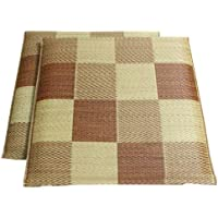 IKEHIKO 灯芯草 座垫 国产 含编织千鸟 『隔板2片组合』 约55×55cm×2P 棕色 約55×55cm -