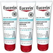Eucerin Advanced Repair 護足霜-無香料,適用于雙腳的乳液,適合非常干燥的皮膚-3盎司(85克)/ 管(3管)
