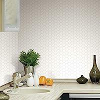 RoomMates TIL3458FLT 白色六角形即剥即贴瓷砖后挡板,4 包 10.5 X 10.5 英寸