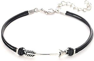 Blingsoul 黑色皮革箭头手链 - 双层银色拍打男士珠宝礼物