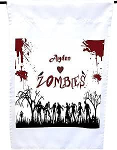 """Rikki Knight""""Ayden Loves 红色摇滚风格个性化带名字的房子或花园旗帜,30.48 x 45.72 cm 旗帜尺寸 27.94 x 27.94 cm 图像"""