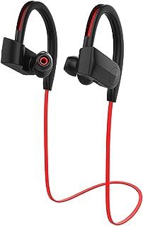 蓝牙耳机,IPX7 防水无线运动耳机,更丰富的低音 HiFi 立体声入耳式耳机,带麦克风,降噪蓝牙耳机,适用于锻炼/跑步/健身房慢跑(红色)