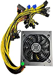 BsCom Mining Rig ETH 以太坊 1600W 电源支持 8 GPU 挖矿机、ETH 矿机、主动式 PFC、PC 1600W 模块化挖矿电源 PSU 适用于 8 GPU ETH Rig Ethereum M