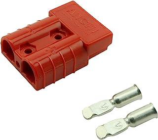 DZS Elec 50A 12-36V 电池快速连接/断开线束插头连接器端子红色带手柄,防水防尘盖