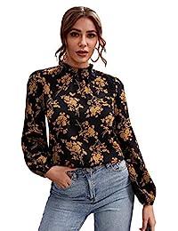floerns 女式花卉印花高領泡泡袖長袖雪紡襯衫