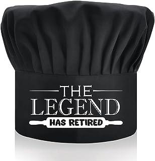 DYJYBMY The Legend Has Retired,成人可调节厨房烹饪帽,带弹性带厨师贝克帽黑色,有趣的烧烤厨师帽,适合男士,爸爸,丈夫,烧烤烧烤礼品