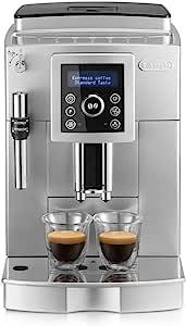 De'Longhi 德龙 ECAM 23.420.SB 自动咖啡机 带有奶泡喷嘴 可制备卡布奇诺/意式浓缩 触控键盘/清晰文字显示,双杯功能,1.8L水箱,银色/黑色