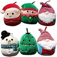 Squishmallow 6 件裝假日毛絨裝飾套裝圣誕系列