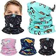 4 件套儿童滑雪羊毛保暖护颈带可调节抽绳冬季面罩巴拉克拉法帽户外运动