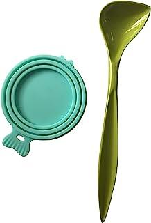 宠物食品罐盖 硅胶狗和猫罐 食品盖 防漏 适合多种尺寸 适合罐头食物,带勺子 宠物食品容器