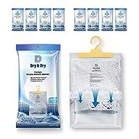 干和干燥 [4-50 件裝[凈重 35.56 克/包] 優質懸掛吸濕器,可控制地下下室、壁櫥、浴室、洗衣房的多余水分。 藍色和白色 8 pack