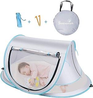 SUNBA YOUTH 婴儿帐篷 便携式婴儿旅行床 UPF 50+ 婴儿遮阳棚 弹出式沙滩帐篷 婴儿旅行婴儿床 带蚊帐 遮阳棚 灰色)