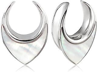 Casvort 2 件优雅海螺马鞍隧道耳规插头拉伸器耳环身体首饰 0g-1 英寸(8mm-25mm)
