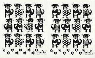 Anneko 可重复使用瑞典抹布,许多狗黑色(2 件装黑狗)
