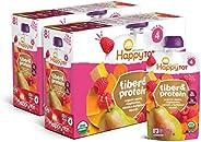 Happy Tot 4段 纤维和蛋白质 梨 覆盆子 胡桃 南瓜和胡萝卜 混合口味果泥 113g*16件装(包装可能有所不同)